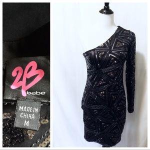 Like New ~ 2B Bebe One Shoulder Dress - Medium